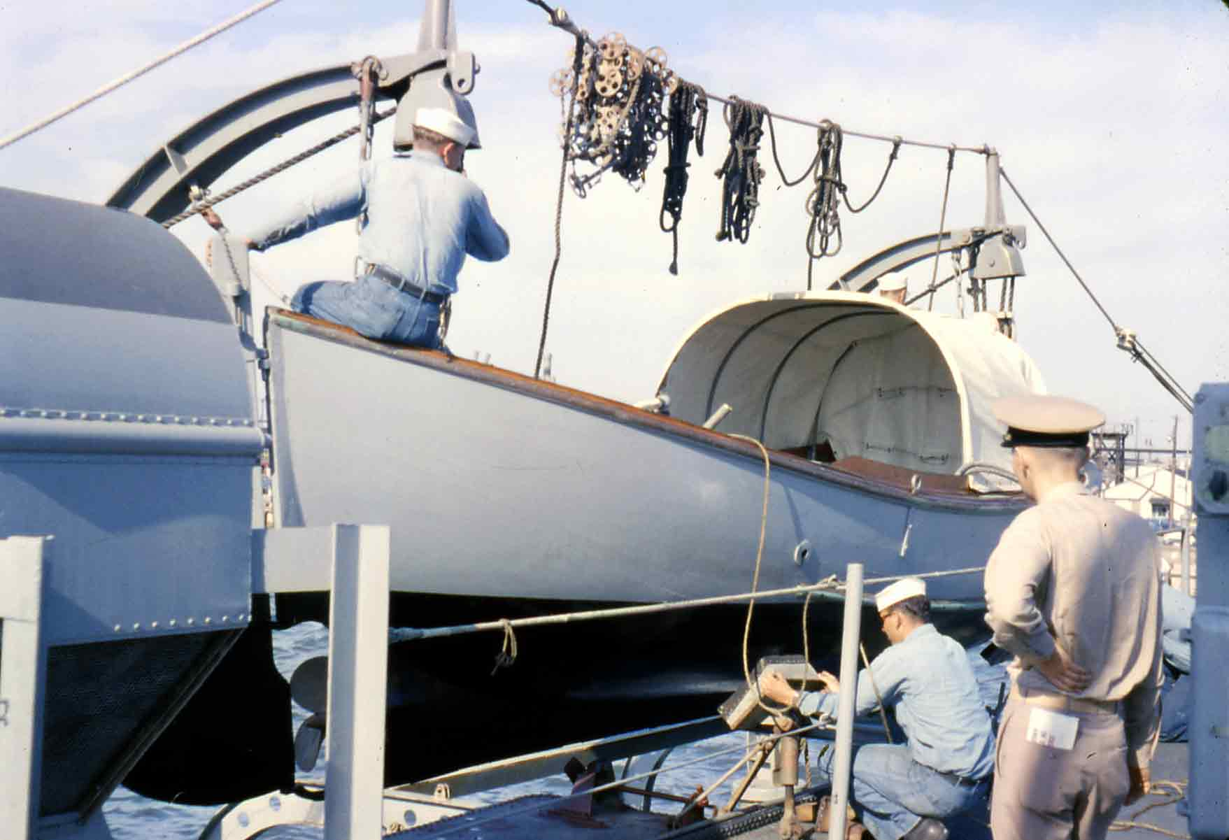Photo - securing the motor whaleboat