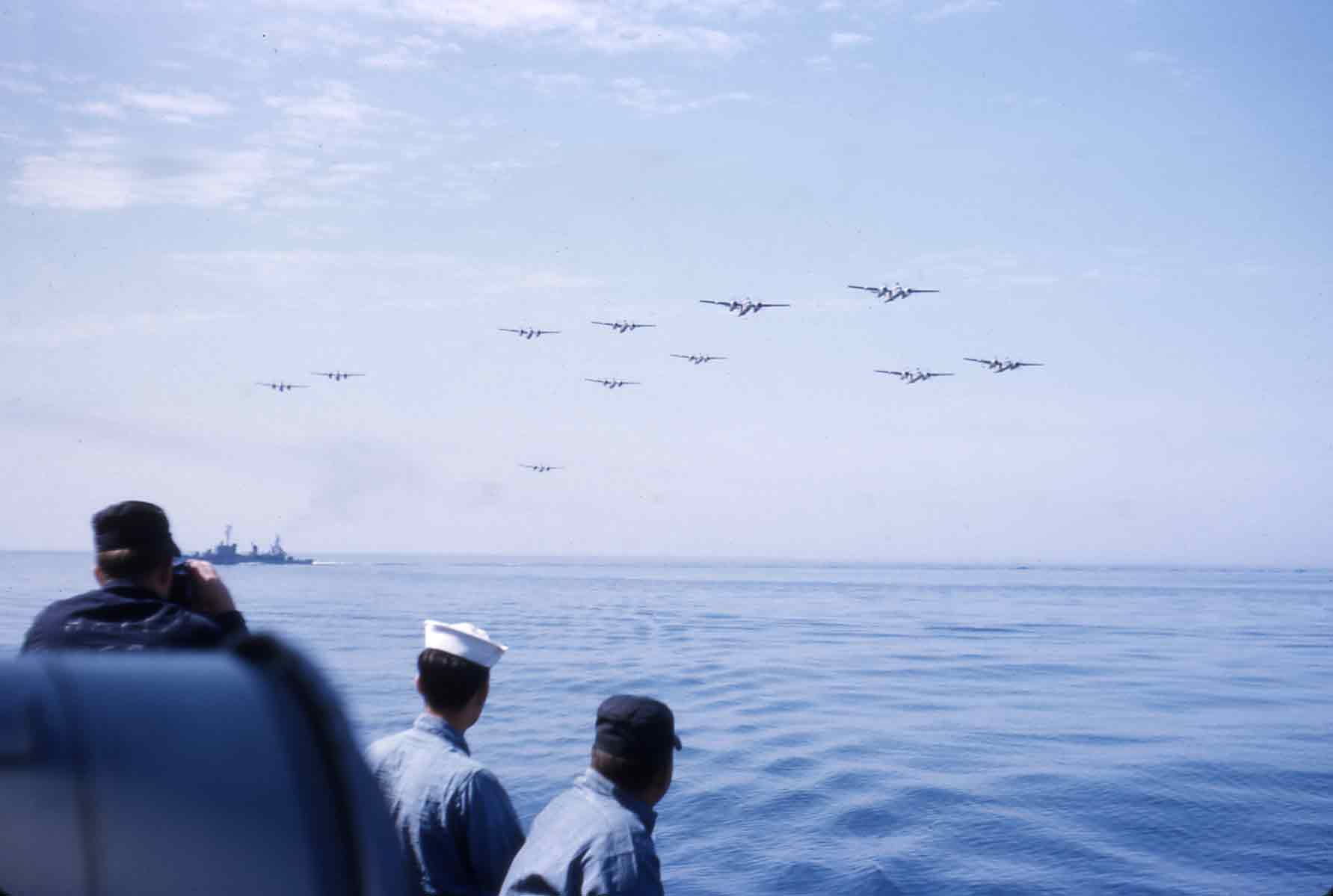 Photo - simulated attack from carrier-based squadron of planes