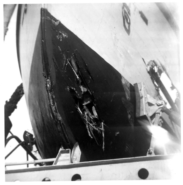 Photo - USS Holder lifeboat after Holder and USS Missouri collision