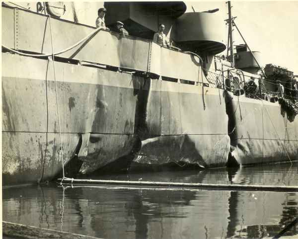 Photo - DE-401 in drydock April 14, 1944