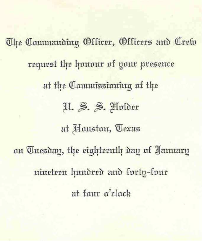 Invitation to Commissioning of USS Holder DE-401 - Page 1