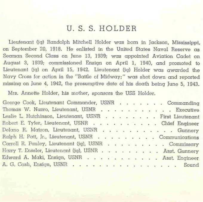 Invitation to Commissioning of USS Holder DE-401 - Page 2