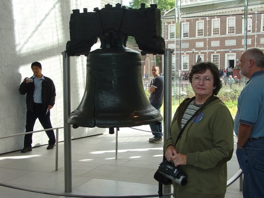 Photo - Dorothy Stigall at the Liberty Bell