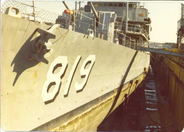 Photo - DD-819 in drydock Phili 1975